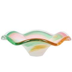 Pastel Colors Swirls Ribbons Murano Glass Centerpiece Bowl