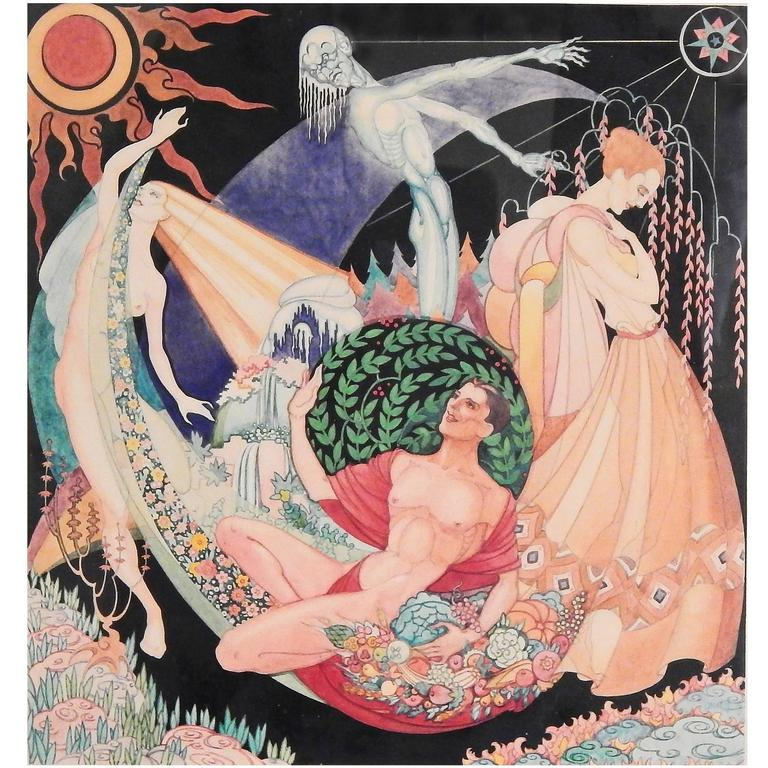 """""""The Four Seasons,"""" Brilliant Art Deco Painting with Nudes by Max Howard"""