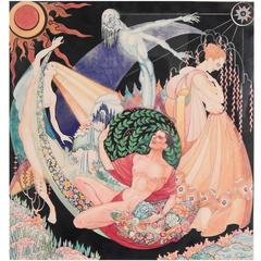 """The Four Seasons,"" Brilliant Art Deco Painting with Nudes by Max Howard"