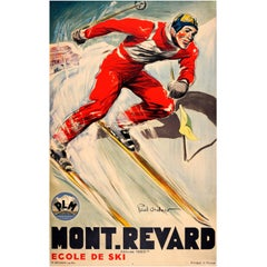 Original Vintage 1930s Skiing Poster by Paul Ordner for Mont Revard France PLM