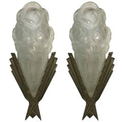 Pair of French Art Deco Sconces Signed by Degue