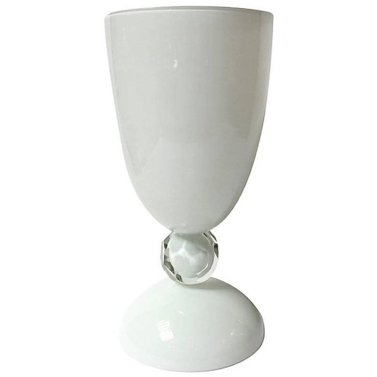 Italian White Murano Glass Urn or Vase