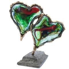 Yves Lohe Glass Sculpture Two Hearts, Glass and Bronze