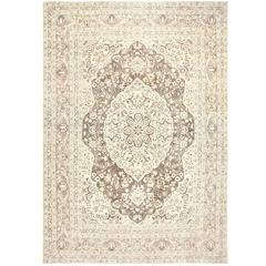 Brown Background Antique Persian Tabriz Rug