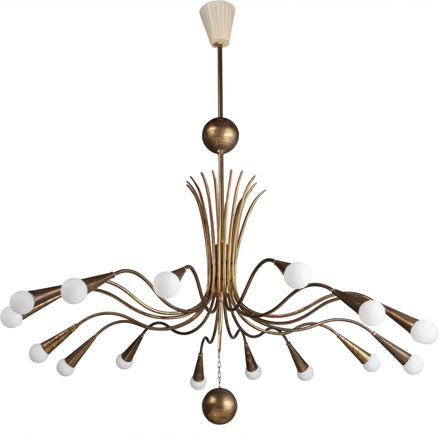 Brass modern chandelier at 1stdibs for How to make a modern chandelier