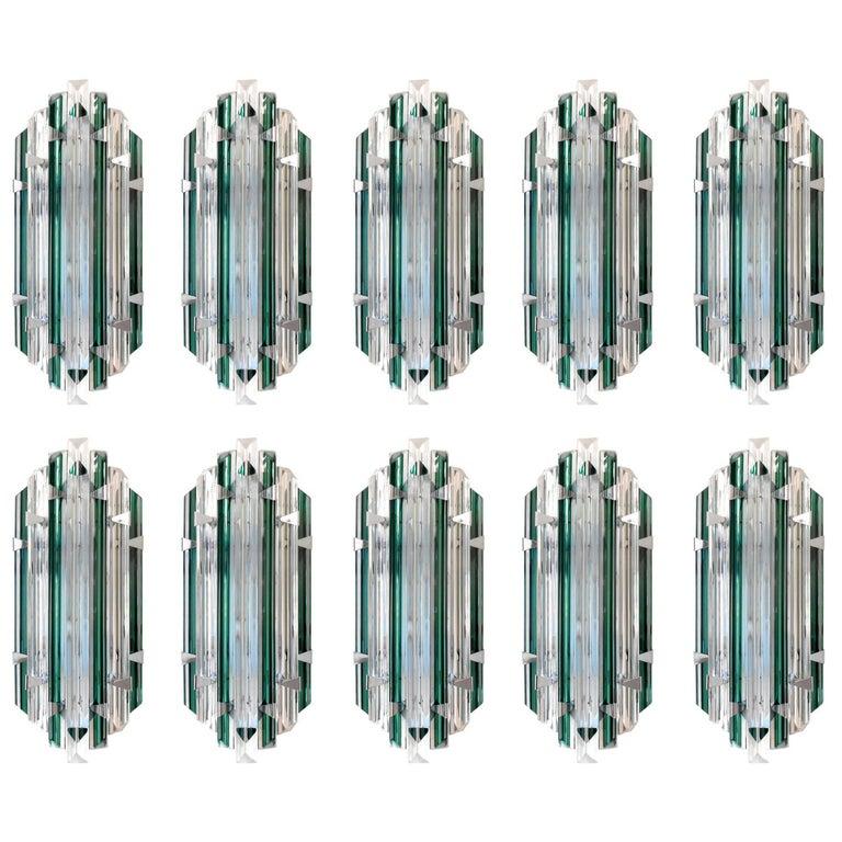 Set of 10 Murano Emerald Sconces by Venini
