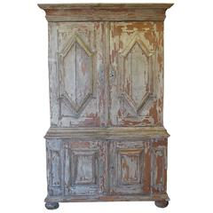 French Painted Armoire Hutch with Original Hardware