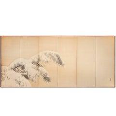 Japanese Six Panel Screen:  Pine in Winter