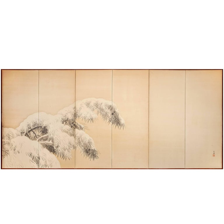 Japanese Six Panel Screen:  Pine in Winter For Sale
