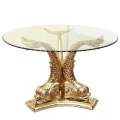 Polished Brass Undine Mythological Circular Center or Dining Table