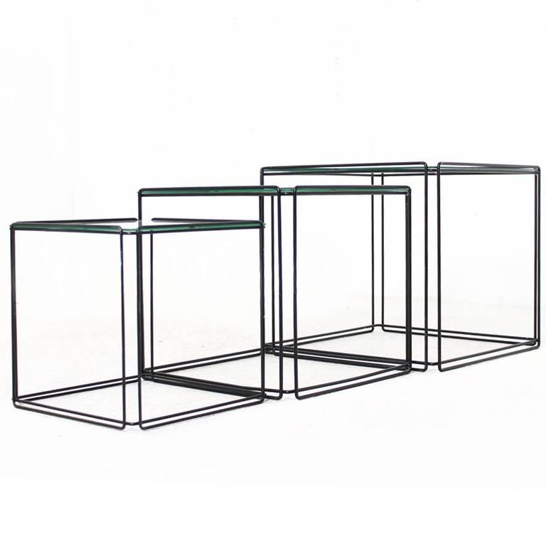 Set of Three Nesting Tables by Max Sauze France 1960s Metal and Glass Minimalist