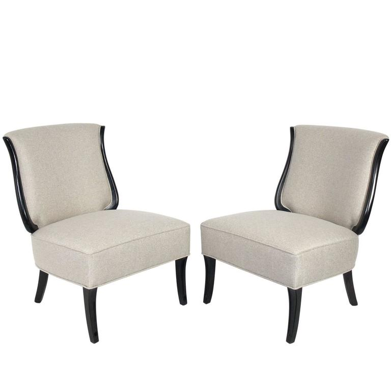 Pair of Curvaceous Lyre Back Lounge Chairs