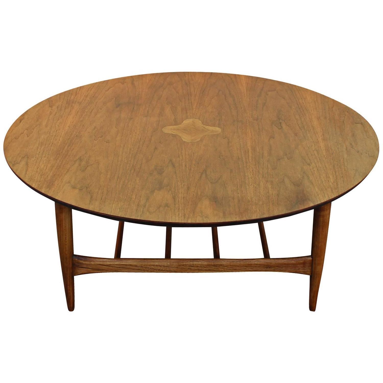 Round Lane Walnut Inlaid Coffee Table At 1stdibs