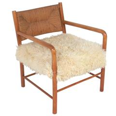 Italian Midcentury Lounge Chair in Woven Paper Cord and Sheepskin
