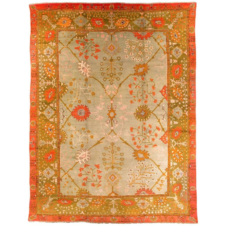 Early 19th Century Wool Oushak Carpet For Sale