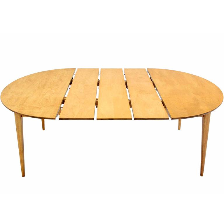 Round birch dining table with three leaves for sale at 1stdibs for Table with that left