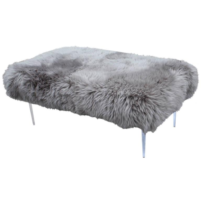 Plush Grey Sheepskin And Lucite Ottoman Or Bench At 1stdibs