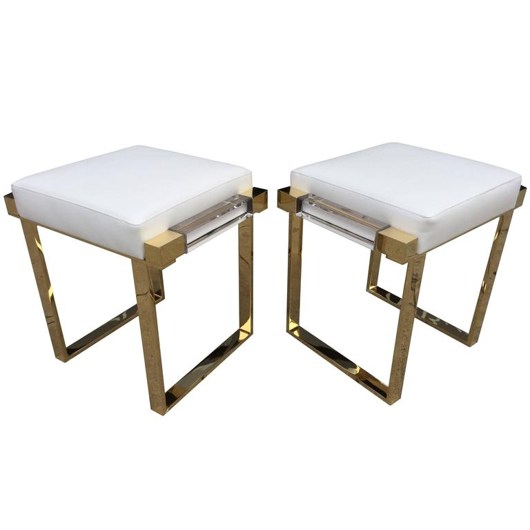 """Pair of Lucite and Brass """"Box"""" Line Benches by Charles Hollis Jones For Sale"""