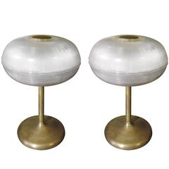 Pair of French Glass Holophane and Brass Table Lamps