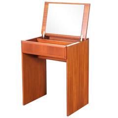 Danish Modern Flip-Top Teak Dressing or Vanity Table