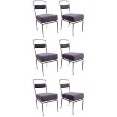 Set of Six Metal and Bronce Chairs by Arturo Pani in Purple Velvet