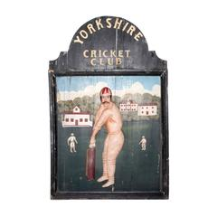 Antique English Wood and Hand-Painted Yorkshire Cricket Club Sign