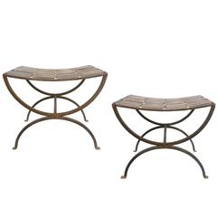 Pair of Wrought Iron Stools