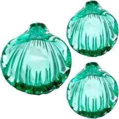 Seguso Murano Sommerso Green Italian Art Glass Sculptural Seashell Dishes, Salts
