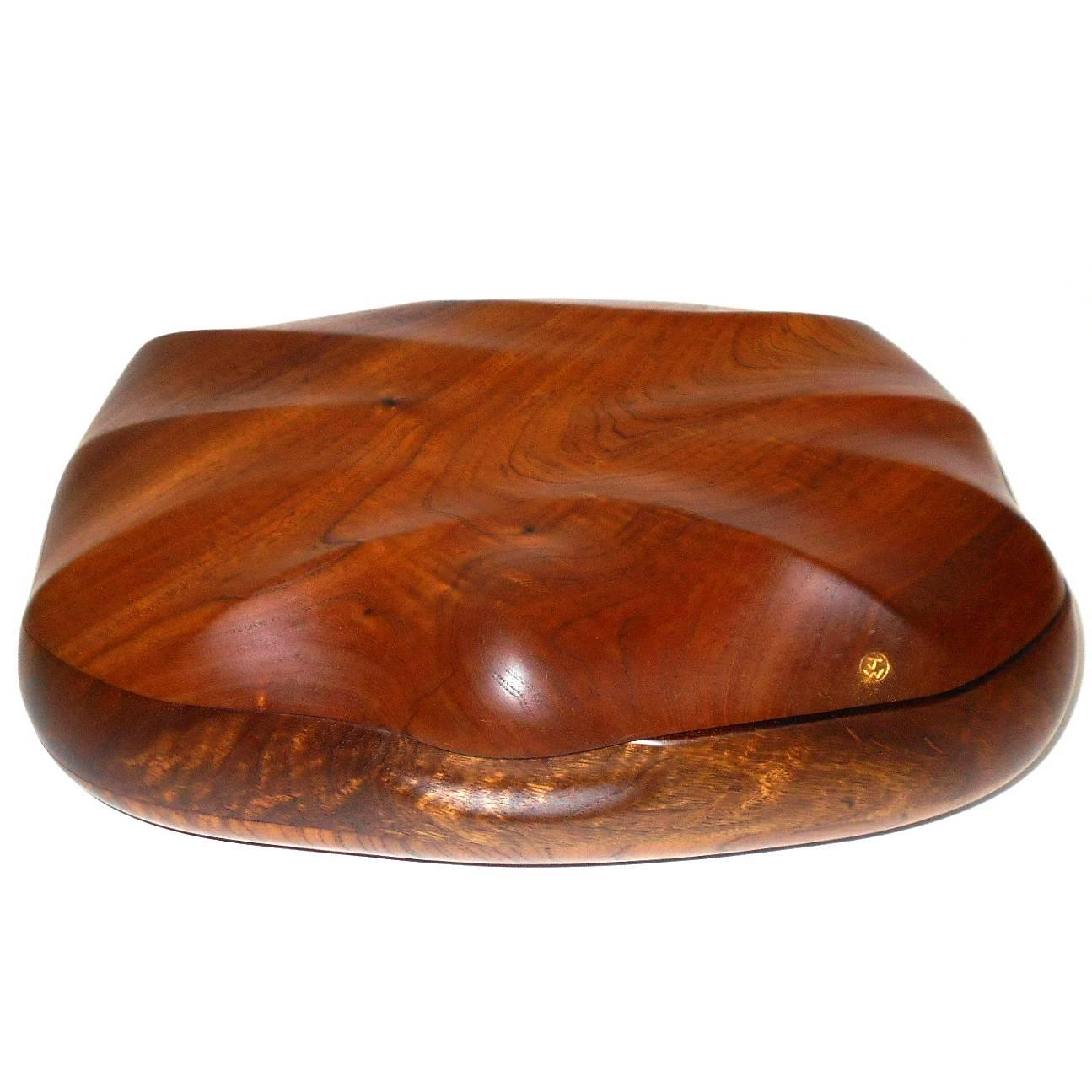 "Large Walnut Trinket Box Signed ""JW"""