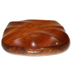 "Large Walnut Trinket Box Signed ""JW"""