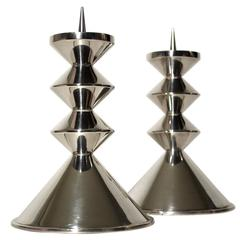 Pair of British Modernist Sterling Silver Candleholders, 1964