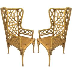 Pair of Chinoiserie Wingback Chairs