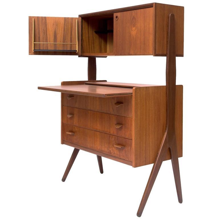 Organic Teak Secretary Desk Danish Mid Century Modern