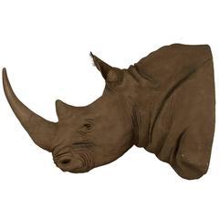 Massive Faux African Taxidermy Acrylic Hanging Rhino Head