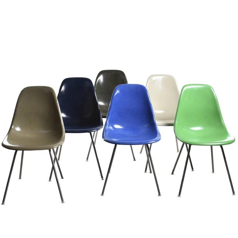 Set of Six Eames DSX Herman Miller USA Chairs