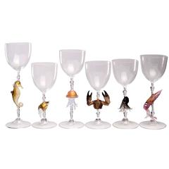 Set of Six Sea Life Murano Glasses by Dario Frare