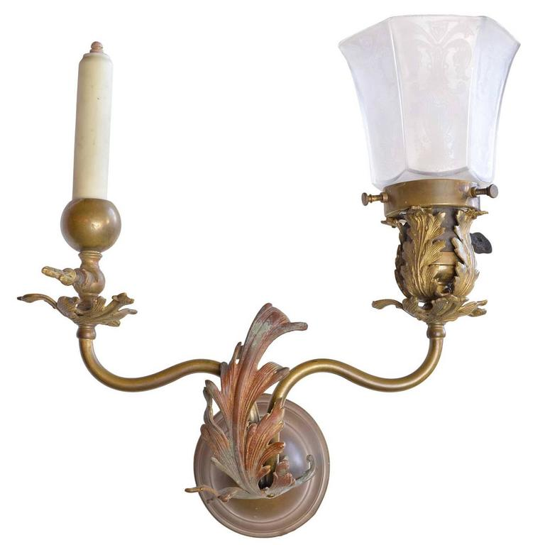 1890s Victorian Gas Electric Brass Sconce For Sale at 1stdibs