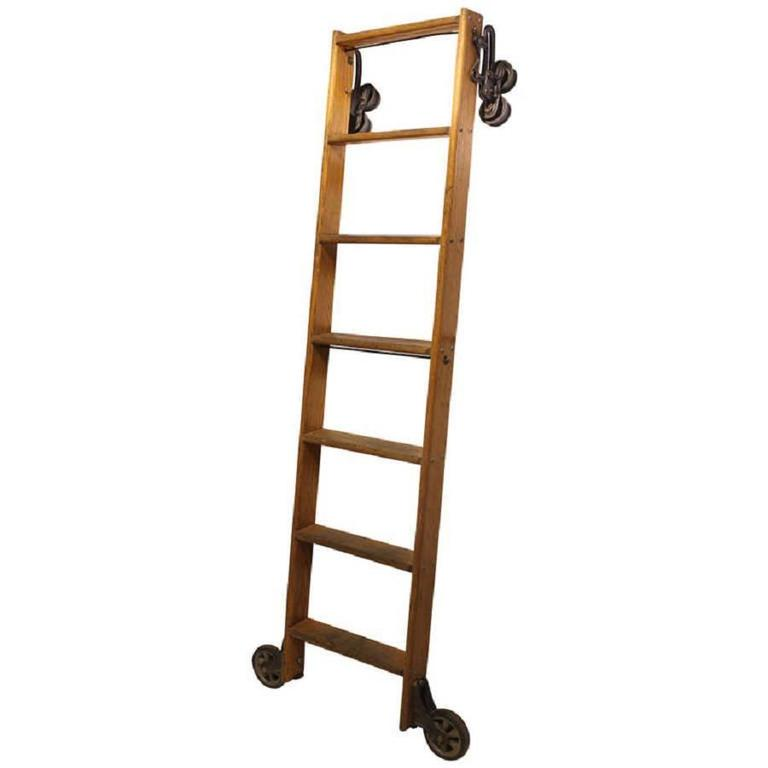 Antique American Oak Library Ladder For