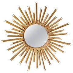 Mid Century Modern Gilt Metal Sunburst Wall Mirrors, France, circa 1950