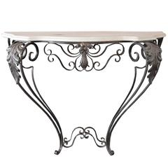 Iron Wall Console with Marble Top