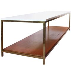 Mid-Century Bronze and Vitrolite Coffee Table by Paul McCobb