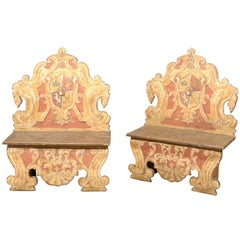 Pair of 19th Century Italian Painted Benches with Crests, Tuscany
