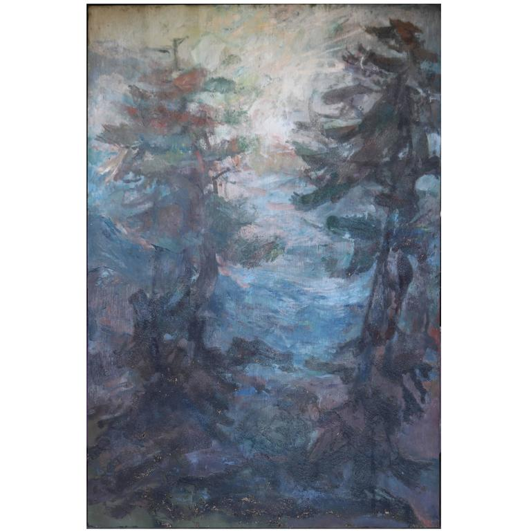 Large Impressionistic Pine Forest Landscape Painting