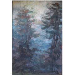 Large Impressionistic Pine Forest Landscape Painting