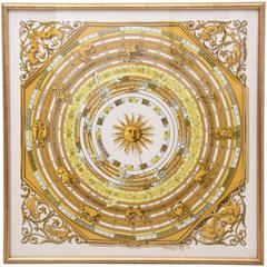 Framed Hermes Silk Zodiac Scarf