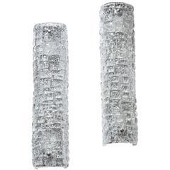 Pair of Embossed Crystal Sconces by Orrefors
