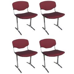 Suite of Four Modernist Stainless Steel and Fabric Chairs, France, 1970s