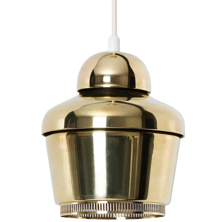 Alvar Aalto, Early Golden Bell Ceiling Lamp, Model A330, 1954 For Sale