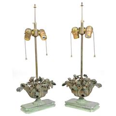 Pair of Fine French Floral Bouquet Bronze Lamps