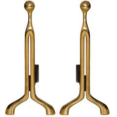 Pair of Caliber Cast Bronze Andirons by Nancy Ruben for Craig Van Den Brulle